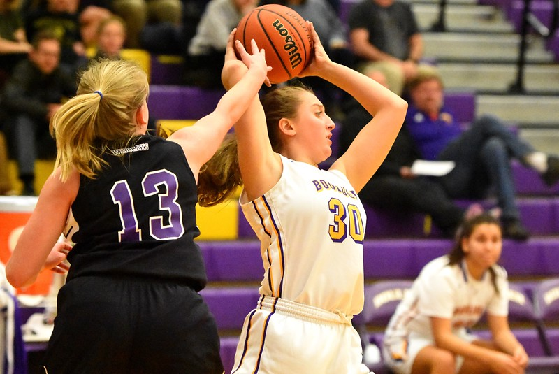 Boulder's Tessa Vanbussum swings the ball during the Panthers' game against Arvada West on Monday, Dec. 17, at Boulder High.