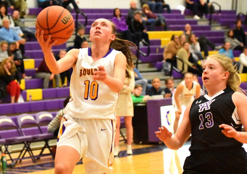 Boulder's Abbie Gillach lines up a layup during the Panthers' game against Arvada West on Monday, Dec. 17, at Boulder High.