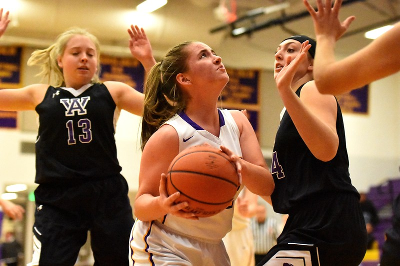 Boulder's Reilly Madden goes up in the paint during the Panthers' game against Arvada West on Monday, Dec. 17, at Boulder High.