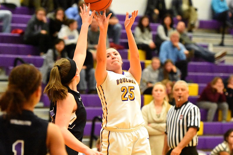 Boulder's Emma Bagely shoots a jump shot during the Panthers' game against Arvada West on Monday, Dec. 17, at Boulder High.
