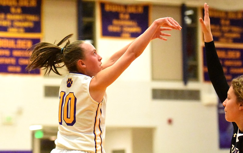 Boulder's Abbie Gillach shoots a 3-pointer during the Panthers' game against Arvada West on Monday, Dec. 17, at Boulder High.