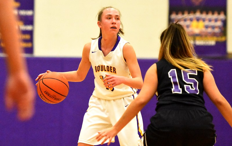 Boulder sophomore point guard Abbie Gillach set up a play during the Panthers' game against Arvada West on Monday, Dec. 17, at Boulder High.