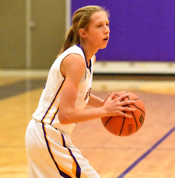 Boulder's Stella Vieth looks to pass during the Panthers' game against Arvada West on Monday, Dec. 17, at Boulder High.