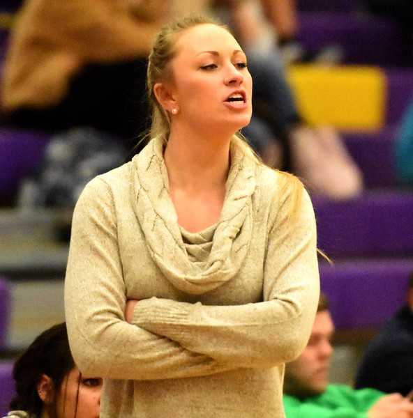 Boulder coach Emily Glen shouts instructions to her team during the Panthers' game against Arvada West on Monday, Dec. 17, at Boulder High.