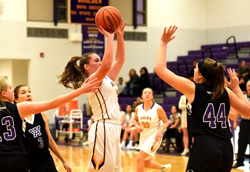 Boulder's Reilly Madden shoots a jump shot during the Panthers' game against Arvada West on Monday, Dec. 17, at Boulder High.