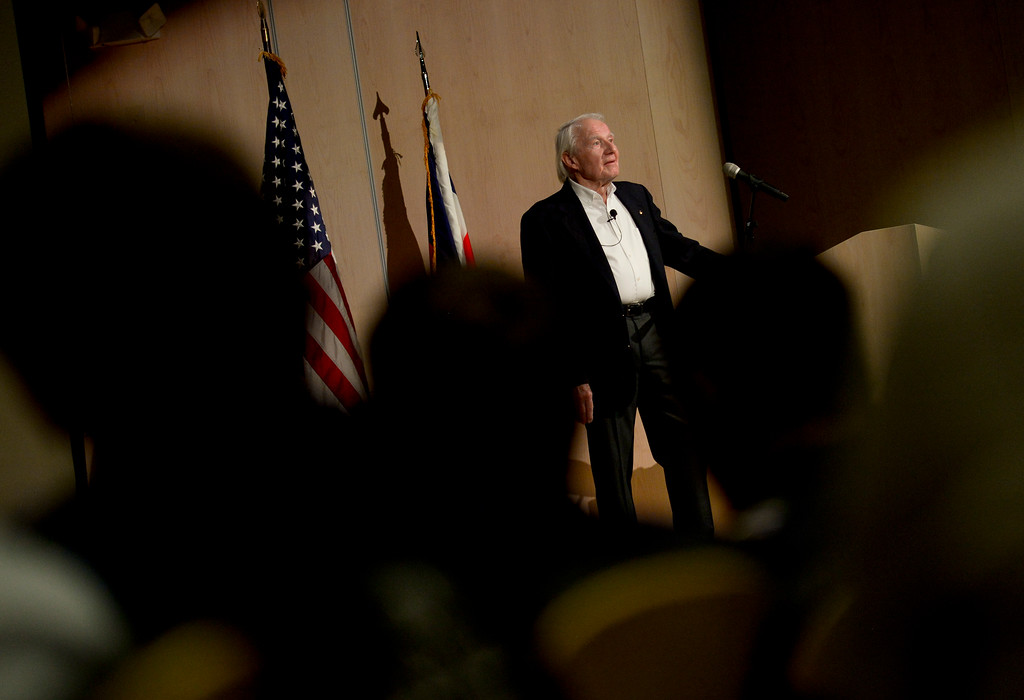 . Vance Brand, former NASA astronaut and Longmont High School graduate, answers questions from the audience after a presentation at the Longmont Museum and Cultural Center on Wednesday. More photos: TimesCall.com. Matthew Jonas/Staff Photographer May 17, 2017