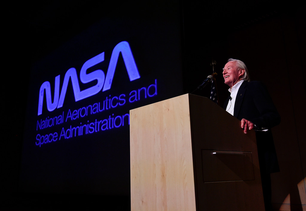 . Vance Brand, former NASA astronaut and Longmont High School graduate, speaks during a presentation at the Longmont Museum and Cultural Center on Wednesday. More photos: TimesCall.com. Matthew Jonas/Staff Photographer May 17, 2017