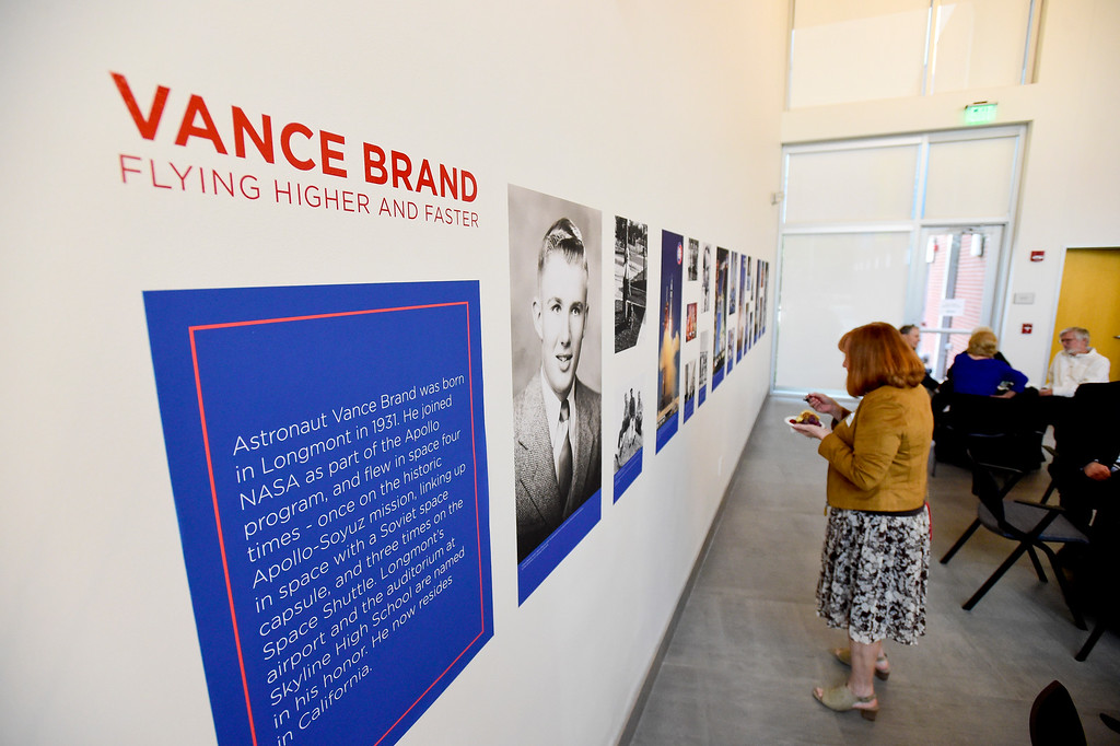 . A large display of photos and information about Vance Brand is seen at the Longmont Museum and Cultural Center on Wednesday. More photos: TimesCall.com. Matthew Jonas/Staff Photographer May 17, 2017