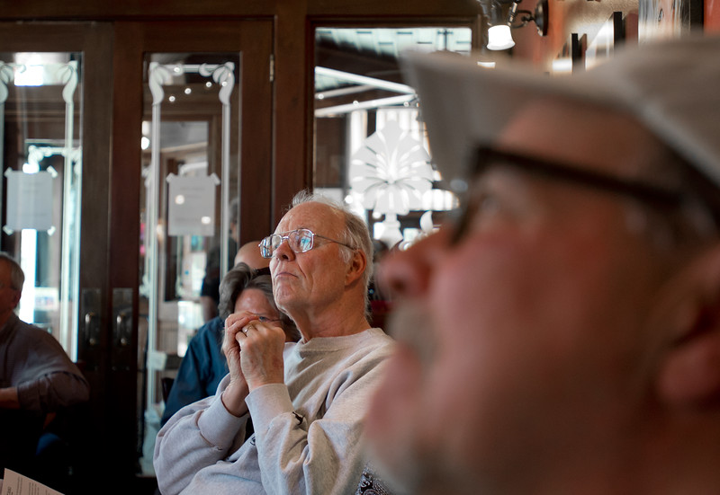 "George Johnson listens as Texas artist Hamilton Loomis leads the ""Beginner Blues Harmonica Workshop"" at Dickens Tavern in Longmont on Saturday.<br /> More photos:  <a href=""http://www.dailycamera.com"">http://www.dailycamera.com</a><br /> Autumn Parry/Staff Photographer<br /> April 23, 2016"