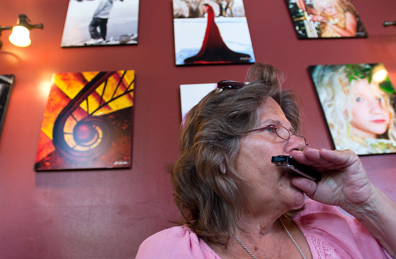 "Jenny McGraw practices proper breathing during the ""Beginner Blues Harmonica Workshop"" at Dickens Tavern on Saturday. <br /> More photos:  <a href=""http://www.dailycamera.com"">http://www.dailycamera.com</a><br /> Autumn Parry/Staff Photographer<br /> April 23, 2016"