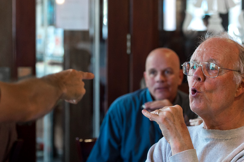 "Hamilton Loomis points out that George Johnson has a perfect pucker for playing the harmonica during a beginners workshop at Dickens Tavern in Longmont. <br /> More photos:  <a href=""http://www.dailycamera.com"">http://www.dailycamera.com</a><br /> Autumn Parry/Staff Photographer<br /> April 23, 2016"