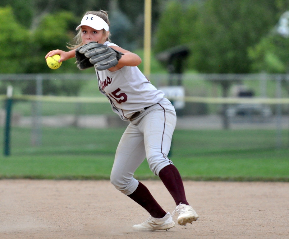 . Berthoud shortstop Addison Spears eyes first base for a throw against Golden during the Berthoud Spartan Classic on Saturday Sept. 9, 2017 at the Barnes Complex. (Cris Tiller / Loveland Reporter-Herald)