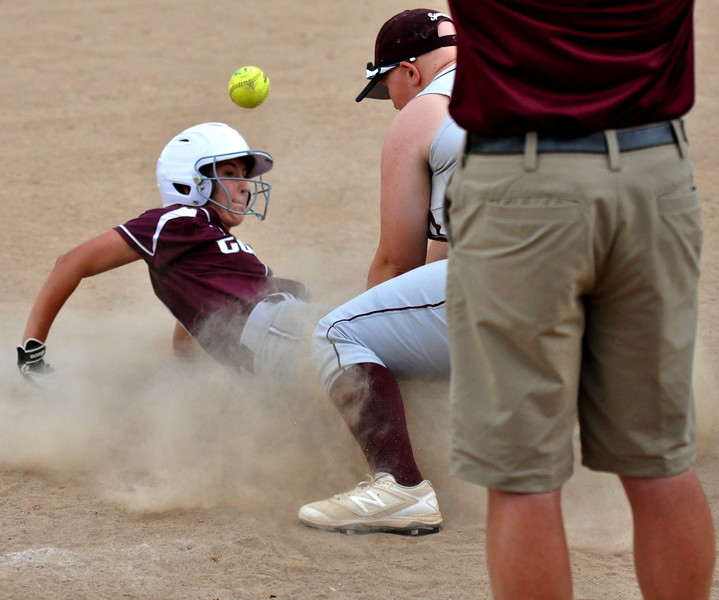 Golden's aptly named Elena Goodspeed slides into third to beat a Berthoud throw during the Berthoud Spartan Classic on Saturday Sept. 9, 2017 at the Barnes Complex. (Cris Tiller / Loveland Reporter-Herald)