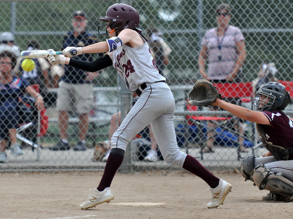 . Berthoud\'s Jordan Schachterle narrowly misses her bunt attempt against Golden during the Berthoud Spartan Classic on Saturday Sept. 9, 2017 at the Barnes Complex. (Cris Tiller / Loveland Reporter-Herald)