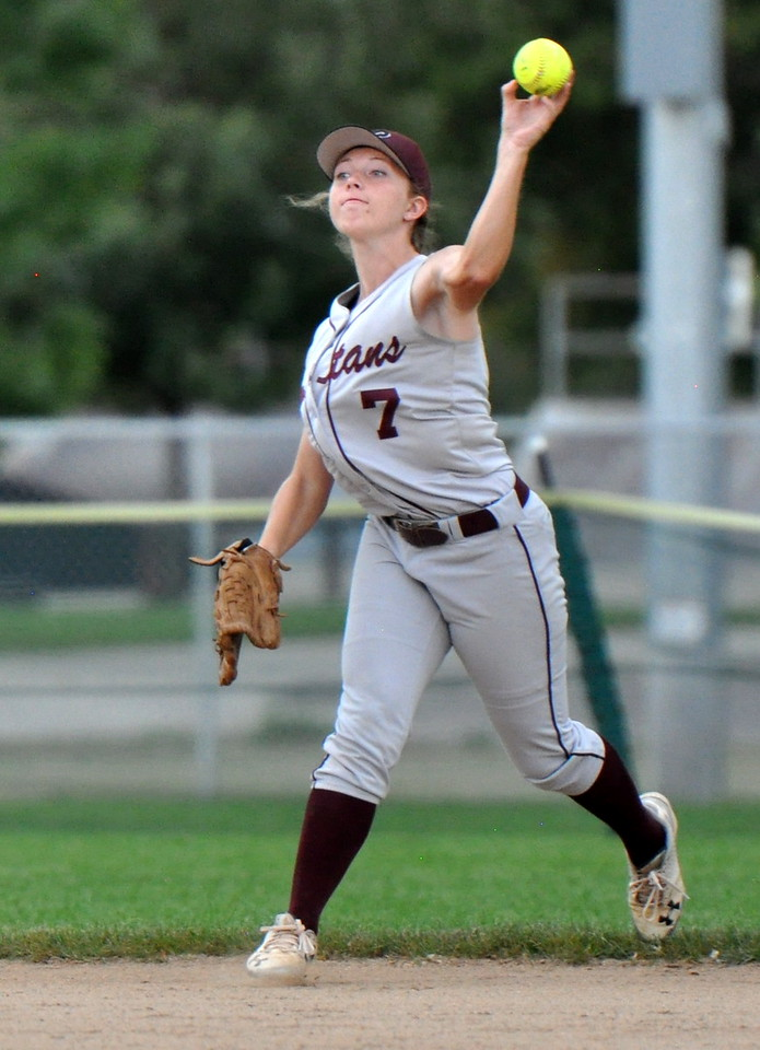 Berthoud centerfielder Tristen Pope throws the ball back in against Golden during the Berthoud Spartan Classic on Saturday Sept. 9, 2017 at the Barnes Complex. (Cris Tiller / Loveland Reporter-Herald)