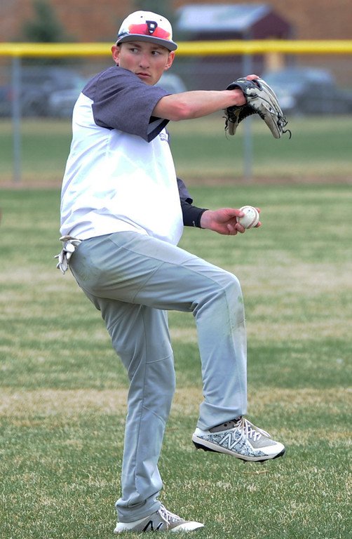 . Berthoud\'s Colin DeVore warms up for a practice March 4, 2018 at Berthoud High School. (Sean Star/Loveland Reporter-Herald)