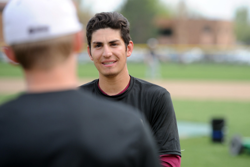 Berthoud's Chris DeSousa waits for his turn to hit during a practice May 9, 2018 at Berthoud High School. (Sean Star/Loveland Reporter-Herald)