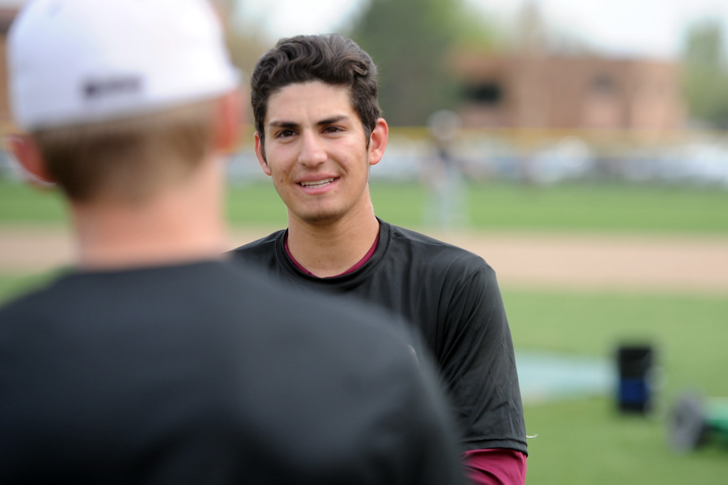 . Berthoud\'s Chris DeSousa waits for his turn to hit during a practice May 9, 2018 at Berthoud High School. (Sean Star/Loveland Reporter-Herald)