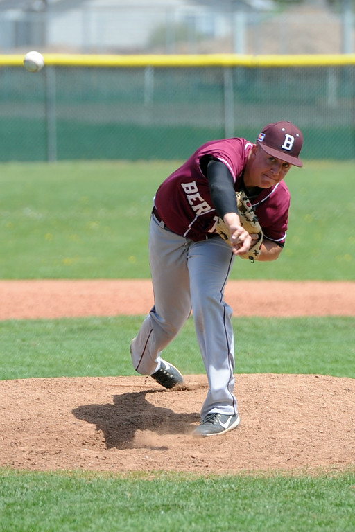 . Berthoud\'s Brent Fowler delivers a pitch during a game Saturday, May 5, 2018 at Windsor. (Sean Star/Loveland Reporter-Herald)