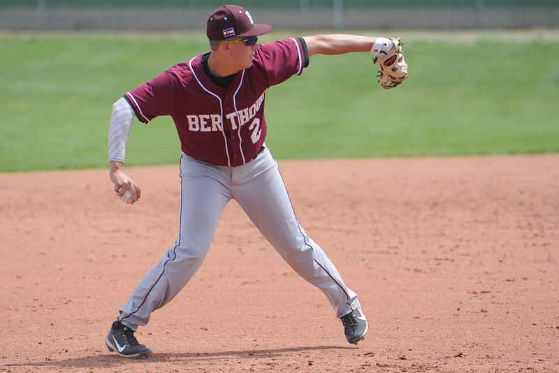 Berthoud's Brent Fowler throws across the diamond during a game Saturday, May 5, 2018 at Windsor. (Sean Star/Loveland Reporter-Herald)