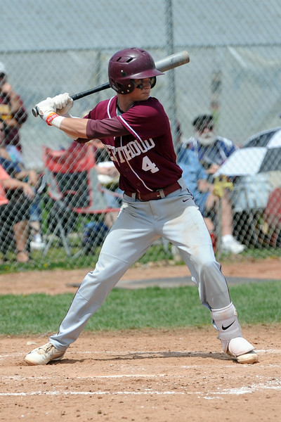 Berthoud's Hunter Pearce gets loads up to take a swing during a game Saturday, May 5, 2018 at Windsor. (Sean Star/Loveland Reporter-Herald)