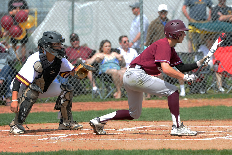 Berthoud's Colin DeVore squares to bunt during a game Saturday, May 5, 2018 at Windsor. (Sean Star/Loveland Reporter-Herald)