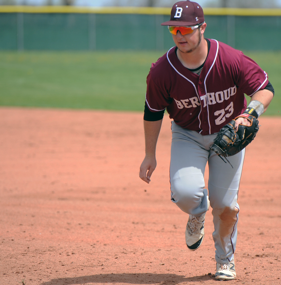 Berthoud first baseman C.J. Balliet trots to the bag for a force out during a game May 5 at Windsor. (Sean Star/Loveland Reporter-Herald)