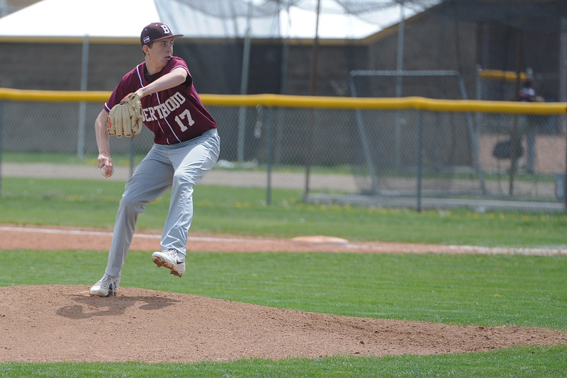 Berthoud's Jordan Williamson delivers a pitch Jordan Williamson during a game Saturday, May 5, 2018 at Windsor. (Sean Star/Loveland Reporter-Herald)