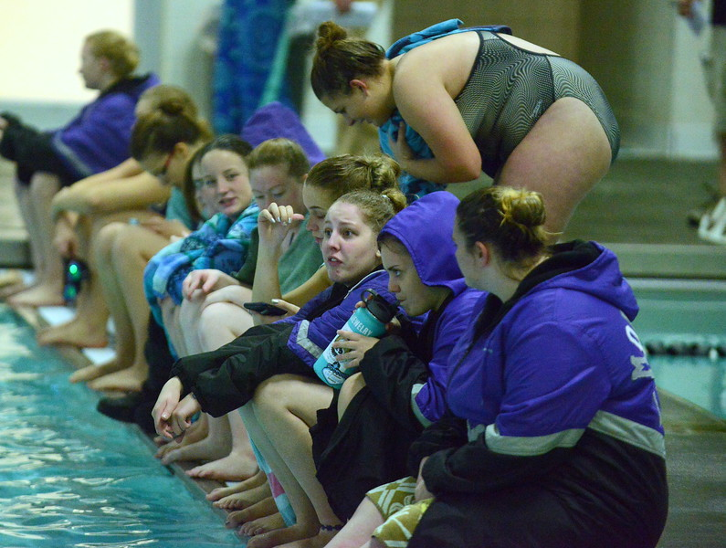 Mountain View's swimmers line up on the bulkhead to watch their divers during Thursday's triangular with Berthoud and Holyoke at the Mountain View Aquatic Center. (Mike Brohard/Loveland Reporter-Herald)