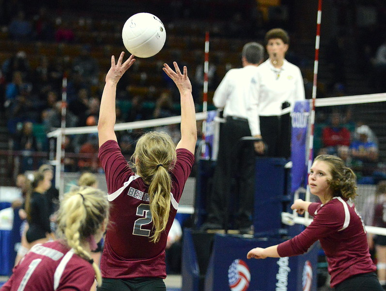 Berthoud's Trinity Penny (2) delivers a set during the Spartans' 4A state match with Mead on Thursday at the Denver Coliseum. The 12th-seeded Spartans knocked off No. 5 Mead with a 31-29, 25-15, 26-24 sweep. (Mike Brohard/Loveland Reporter-Herald)