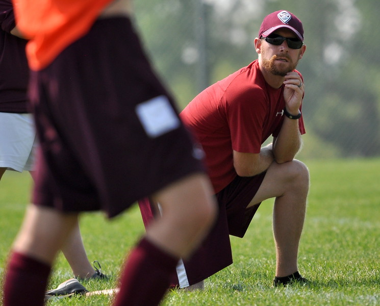 Berthoud coach Scott Washenfelder watches on as his team faces Mountain View on Saturday Sept. 2, 2017 at MVHS. (Cris Tiller / Loveland Reporter-Herald)