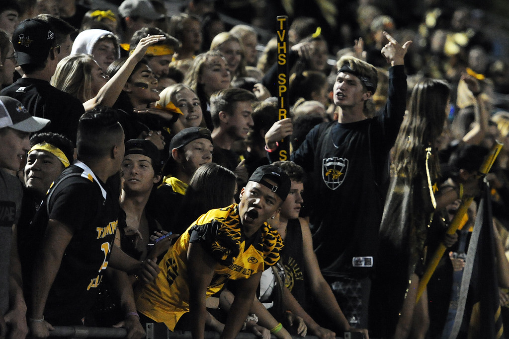 . The Thompson Valley student section cheers the Eagles on during a game Friday, Sept. 14, 2018 at Patterson Stadium in Loveland, Colorado. (Sean Star/Loveland Reporter-Herald)