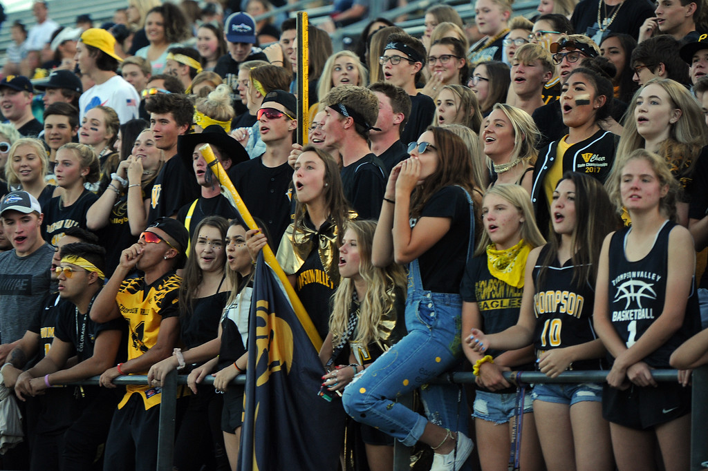 . The Thompson Valley student section cheers on their team during a game Friday, Sept. 14, 2018 at Patterson Stadium in Loveland, Colorado. (Sean Star/Loveland Reporter-Herald)