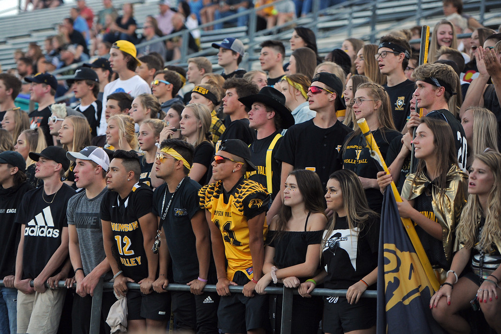 . The Thompson Valley student section watches their team take on Berthoud on Friday, Sept. 14, 2018 at Patterson Stadium in Loveland, Colorado. (Sean Star/Loveland Reporter-Herald)
