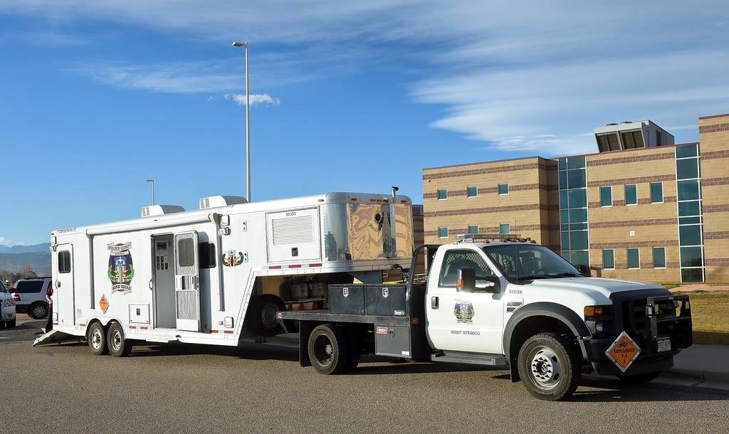 . The Boulder County Bomb Squad staged at the rear of Silver Creek High School, 4901 Nelson Rd., Wednesday afternoon. To view more photos visit timescall.com. Lewis Geyer/Staff Photographer Nov. 29, 2017