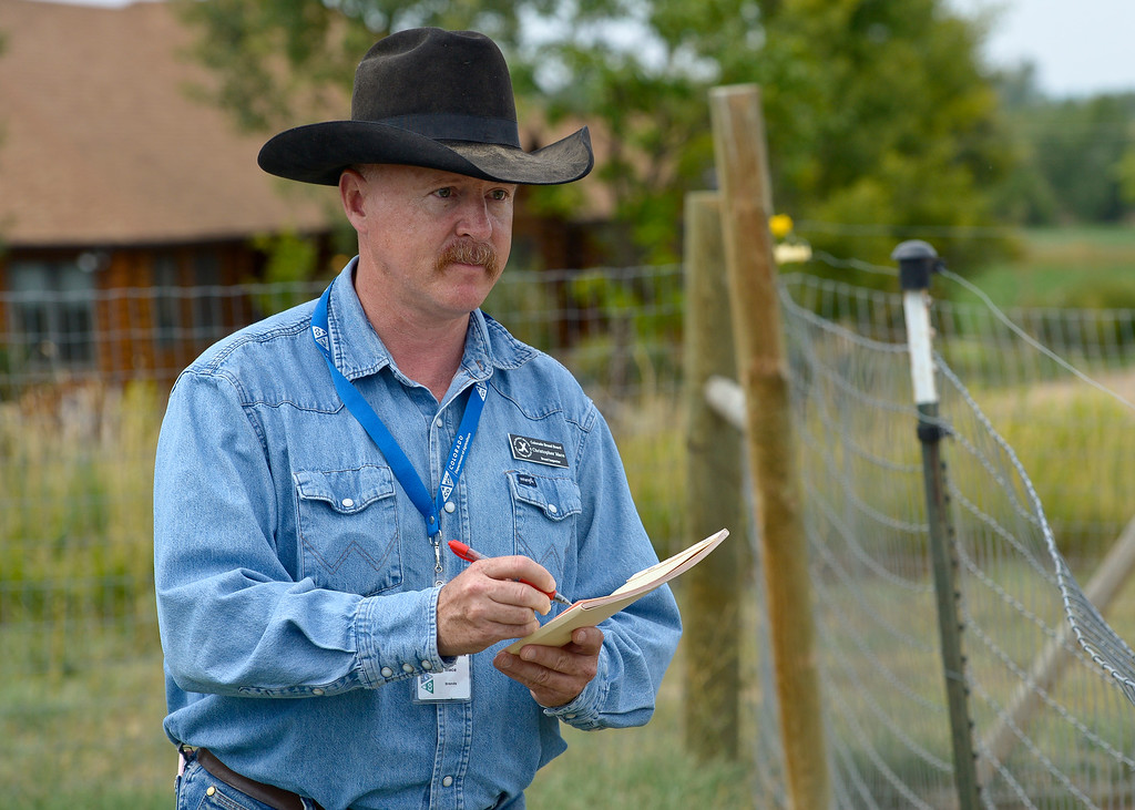 . LONGMONT, CO - AUG. 28, 2018: Brand inspector Chris Mace records the markings Aug. 28 on a horse owned by Lori Oakley. The Brand Inspection Division employs 58 brand inspectors located throughout the state including 10 supervisors. (Photo by Lewis Geyer/Staff Photographer)