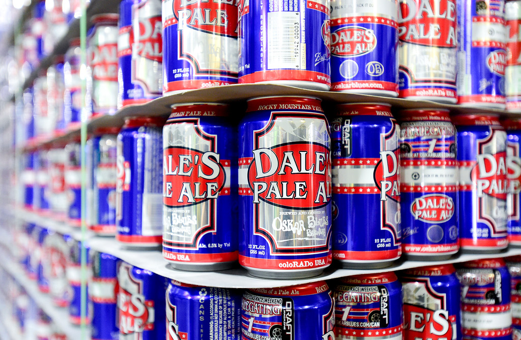. Aluminum cans for Dales Pale Ale are seen at the Oskar Blues brewery in Longmont, Colorado on Oct. 3, 2017. The cans are recyclable.  (Photo by Matthew Jonas/Times-Call)