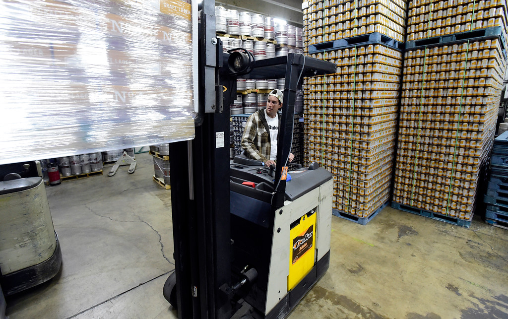 . Matt Laughlin uses a forklift to store a pallet of beer at Upslope Brewing on Monday in Boulder. For more photos of activity at Upslope Brewing go to dailycamera.com Jeremy Papasso/ Staff Photographer/ Oct. 9, 2017
