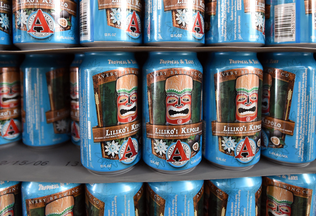 . Cans for Liliko\'i Kepolo, a tropical, tangy, and tart Witbier  at Avery Brewery in Boulder. Cliff Grassmick  Staff Photographer October 6, 2017