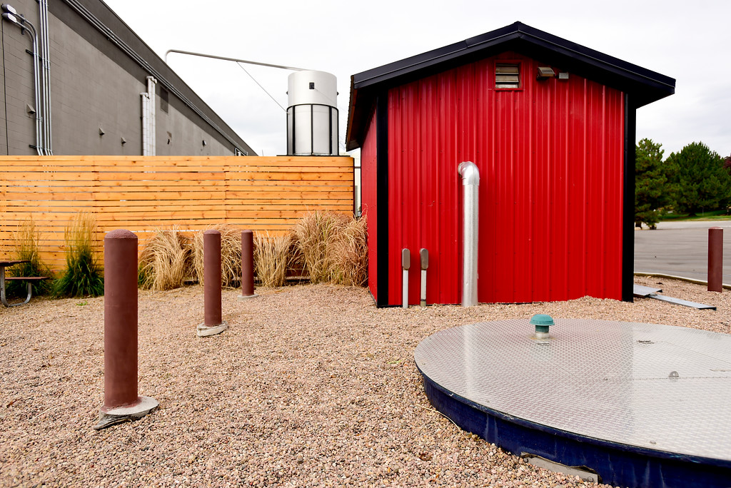 ". A grey water filtration system inside a red building, nicknamed ""the Snoopy House\"" is seen at the Oskar Blues brewery in Longmont, Colorado on Oct. 3, 2017. The grey water is filtered on site to reduce the impact and cost of disposal.  (Photo by Matthew Jonas/Times-Call)"