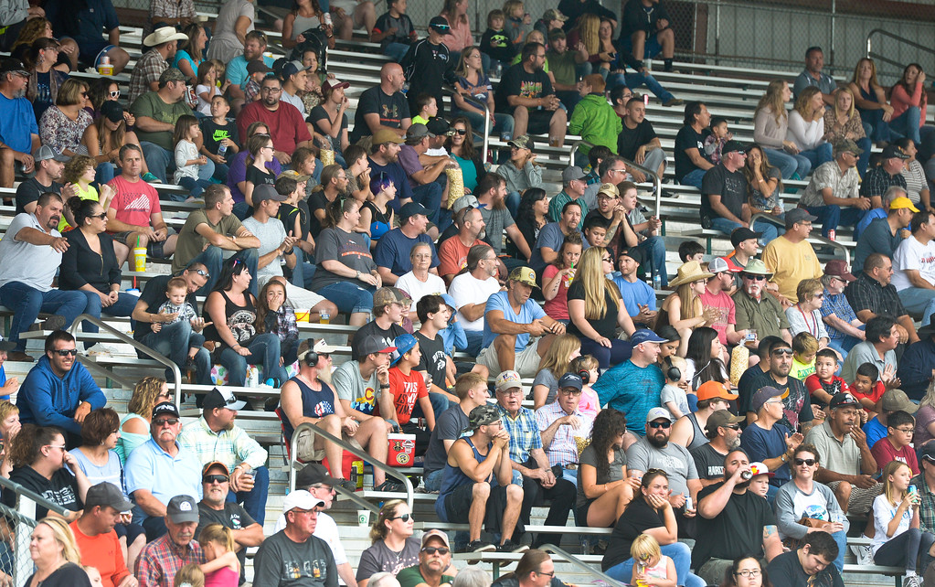 . The crowd watches the action at the truck and tractor pull at the Boulder County Fair Sunday evening. To view more photos visit timescall.com. Lewis Geyer/Staff Photographer August 06, 2017