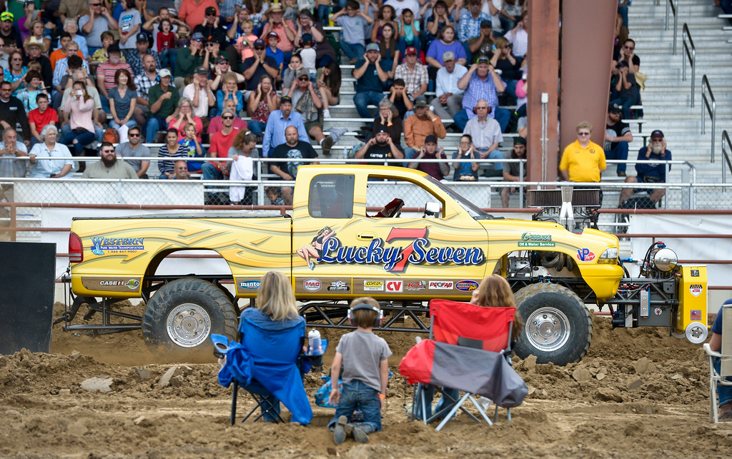 . Ron Greene competes in the modified 4x4 class during the truck and tractor pull at the Boulder County Fair Sunday evening. To view more photos visit timescall.com. Lewis Geyer/Staff Photographer August 06, 2017