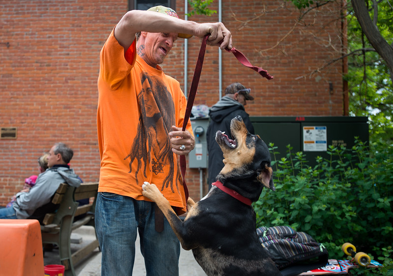 """A homeless man who asked to be referred to as J. plays with his dog Tom Tom outside of the Carriage House in Boulder on Friday. <br /> More photos:  <a href=""""http://www.dailycamera.com"""">http://www.dailycamera.com</a><br /> (Autumn Parry/Staff Photographer)<br /> May 27, 2016"""