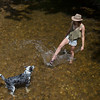 "Marilyn Barnett plays with her dog Huxley in Boulder Creek during the Boulder Creek Festival at Central Park on Sunday. <br /> More photos:  <a href=""http://www.dailycamera.com"">http://www.dailycamera.com</a><br /> (Autumn Parry/Staff Photographer)<br /> May 29, 2016"