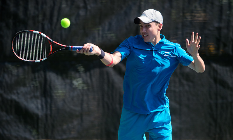 """Richard Johnson plays against Spencer Lang during the men's open singles match in the Boulder Open Tennis Finals at the Rocky Mountain Tennis Center in Boulder on Sunday. <br /> More photos:  <a href=""""http://www.BoCoPreps.com"""">http://www.BoCoPreps.com</a><br /> (Autumn Parry/Staff Photographer)<br /> July 24, 2016"""