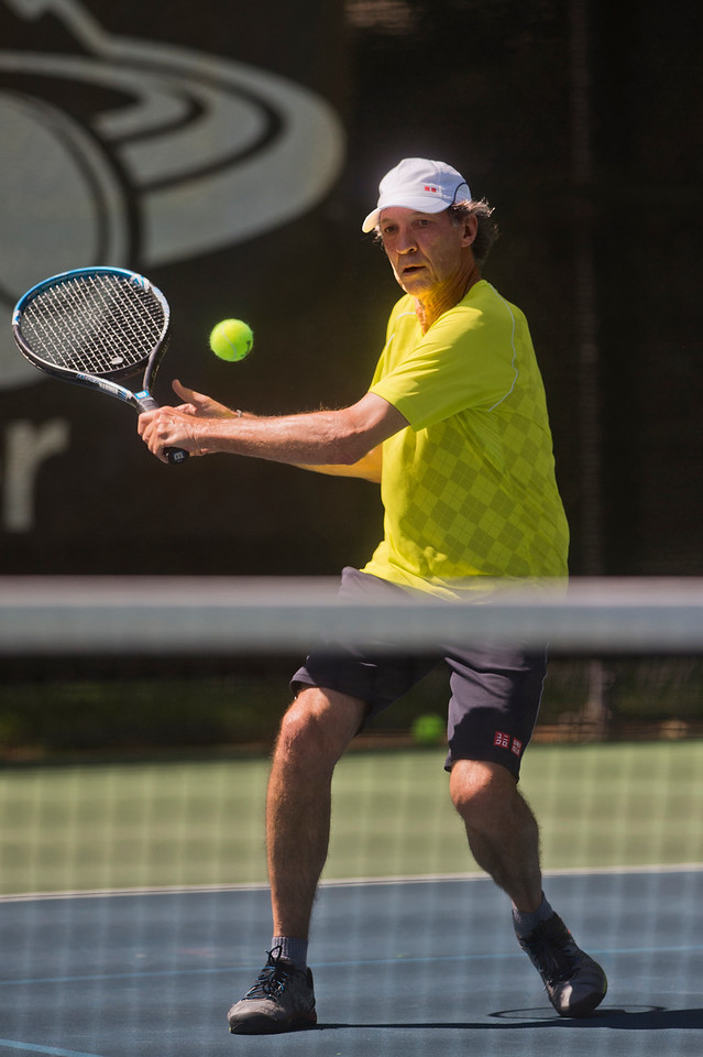 "Bob Litwin plays against Ed Schroback in the mens 65 singles match during the Boulder Open Tennis Finals at the Rocky Mountain Tennis Center in Boulder on Sunday. <br /> More photos:  <a href=""http://www.BoCoPreps.com"">http://www.BoCoPreps.com</a><br /> (Autumn Parry/Staff Photographer)<br /> July 24, 2016"