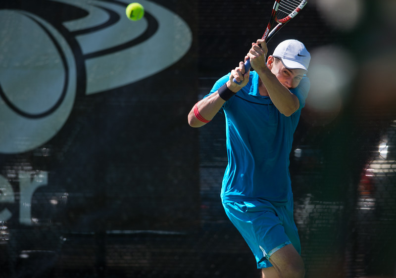 "Richard Johnson plays against Spencer Lang during the men's open singles match in the Boulder Open Tennis Finals at the Rocky Mountain Tennis Center in Boulder on Sunday. <br /> More photos:  <a href=""http://www.BoCoPreps.com"">http://www.BoCoPreps.com</a><br /> (Autumn Parry/Staff Photographer)<br /> July 24, 2016"