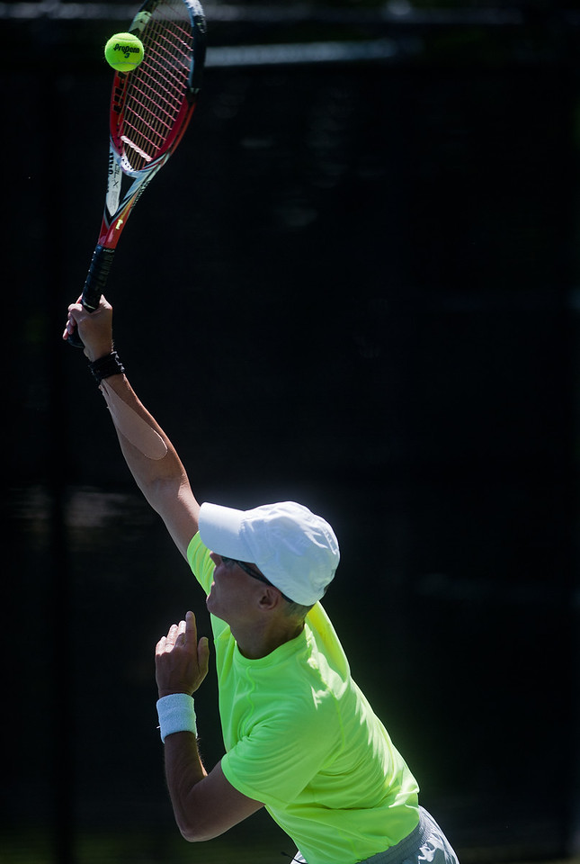 "Ed Schroback plays against Bob Litwin in the men's 65 singles match during the Boulder Open Tennis Finals at the Rocky Mountain Tennis Center in Boulder on Sunday. <br /> More photos:  <a href=""http://www.BoCoPreps.com"">http://www.BoCoPreps.com</a><br /> (Autumn Parry/Staff Photographer)<br /> July 24, 2016"