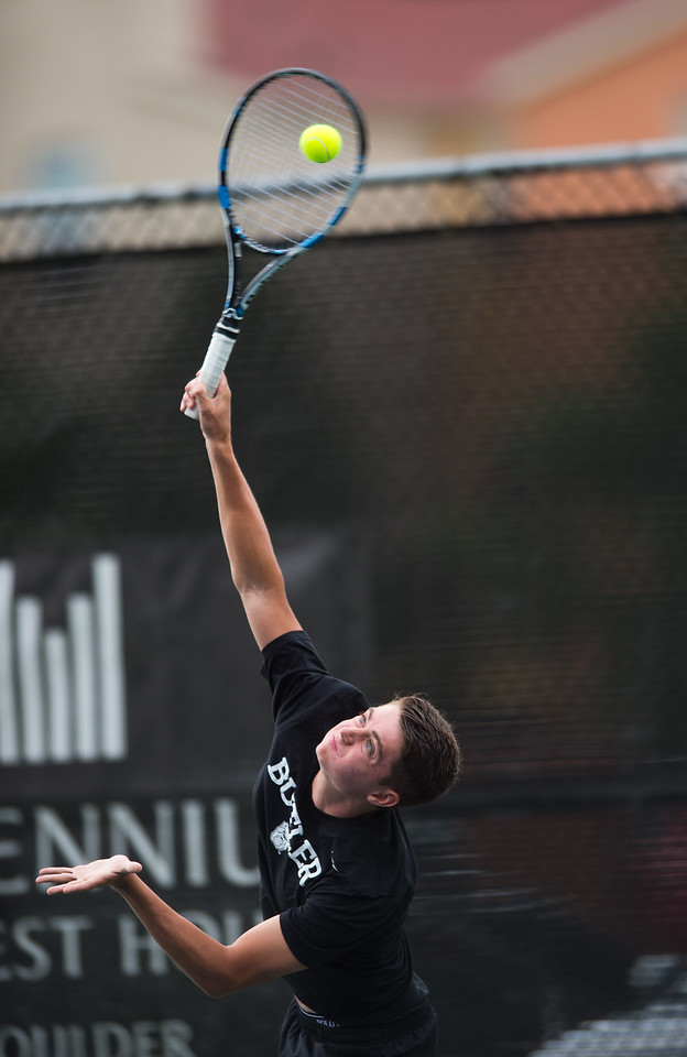 "Spencer Lang plays against Richard Johnson during the men's open singles match in the Boulder Open Tennis Finals at the Rocky Mountain Tennis Center in Boulder on Sunday. <br /> More photos:  <a href=""http://www.BoCoPreps.com"">http://www.BoCoPreps.com</a><br /> (Autumn Parry/Staff Photographer)<br /> July 24, 2016"