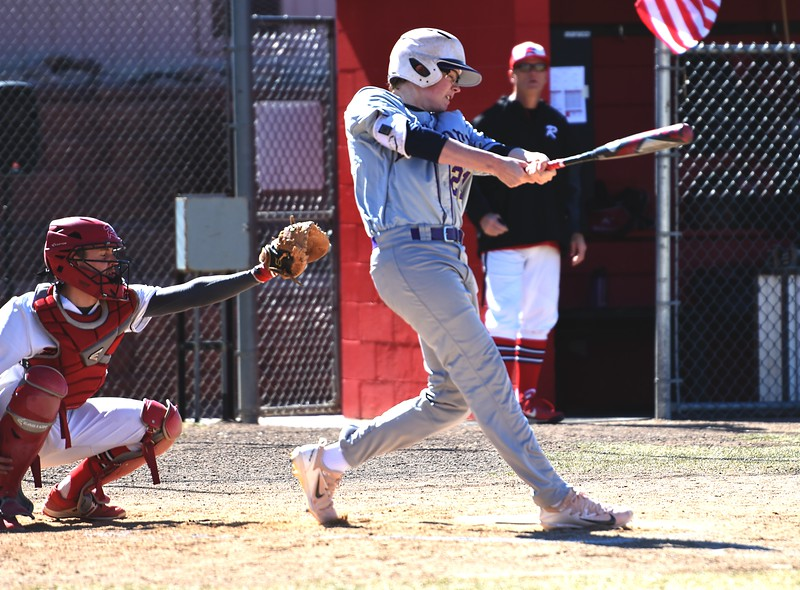 Dorsey Chatham hits a double during the Boulder baseball team's game against Rangeview on Saturday, March 17, in Aurora.